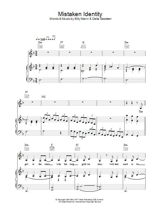 Mistaken Identity (Piano, Vocal & Guitar)