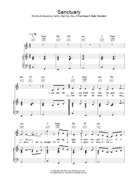 Sanctuary Sheet Music