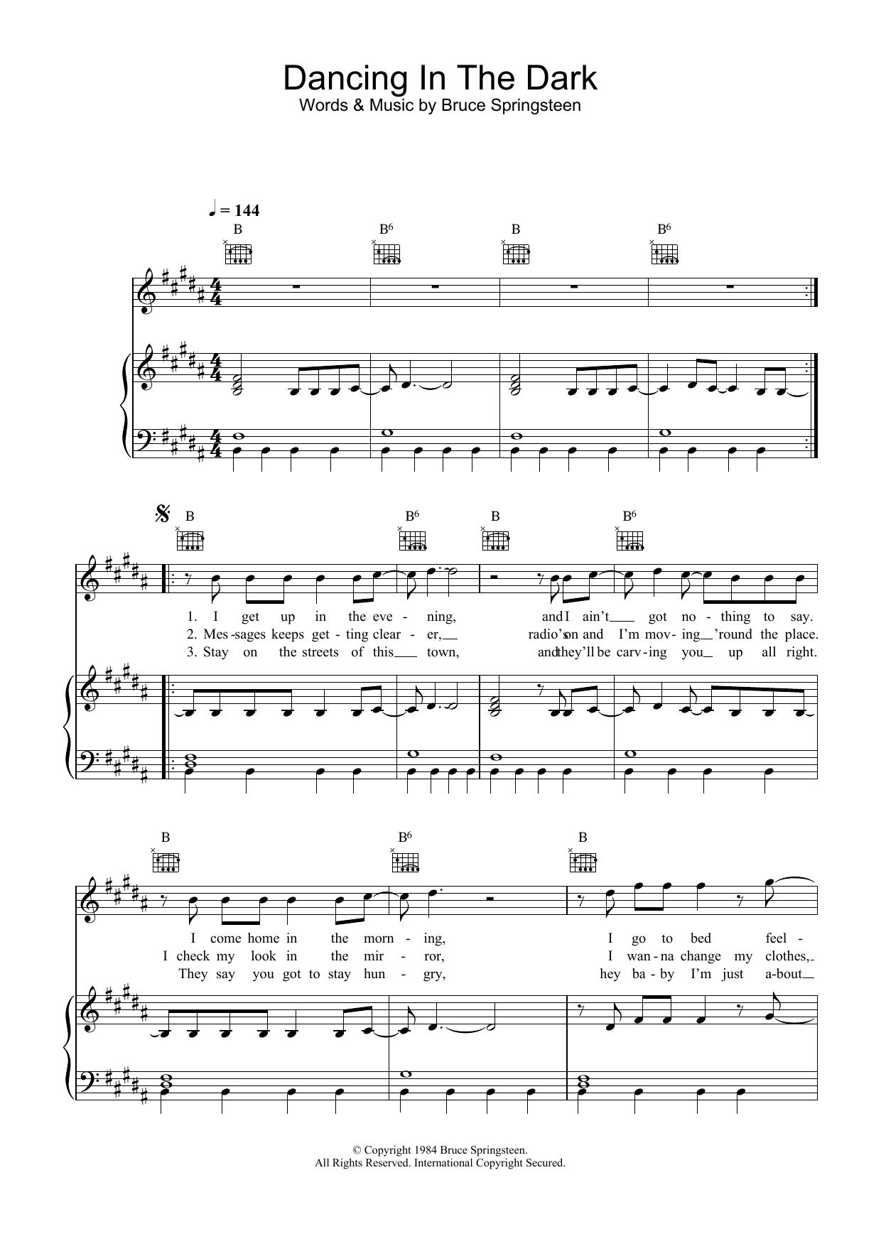 Dancing In The Dark (Piano, Vocal & Guitar)