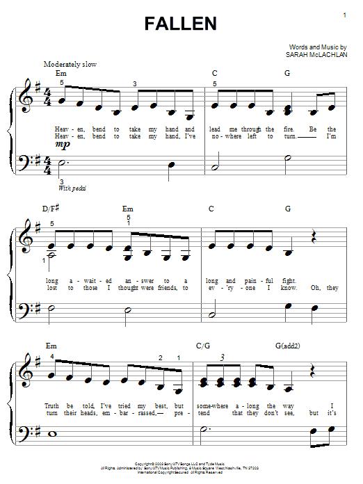 Partition piano Fallen de Sarah McLachlan - Autre