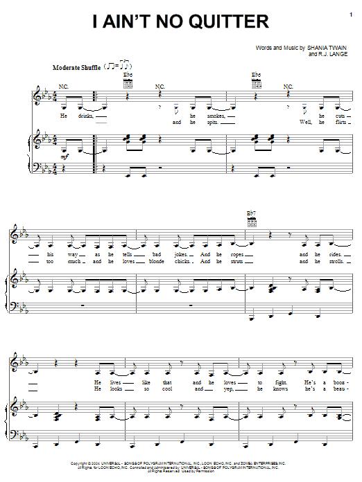 Partition piano I Ain't No Quitter de Shania Twain - Piano Voix Guitare (Mélodie Main Droite)