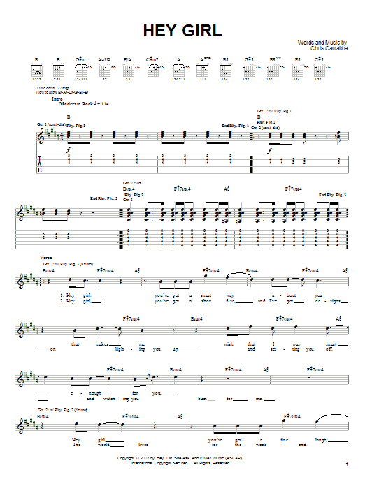 Hey Girl (Guitar Tab)