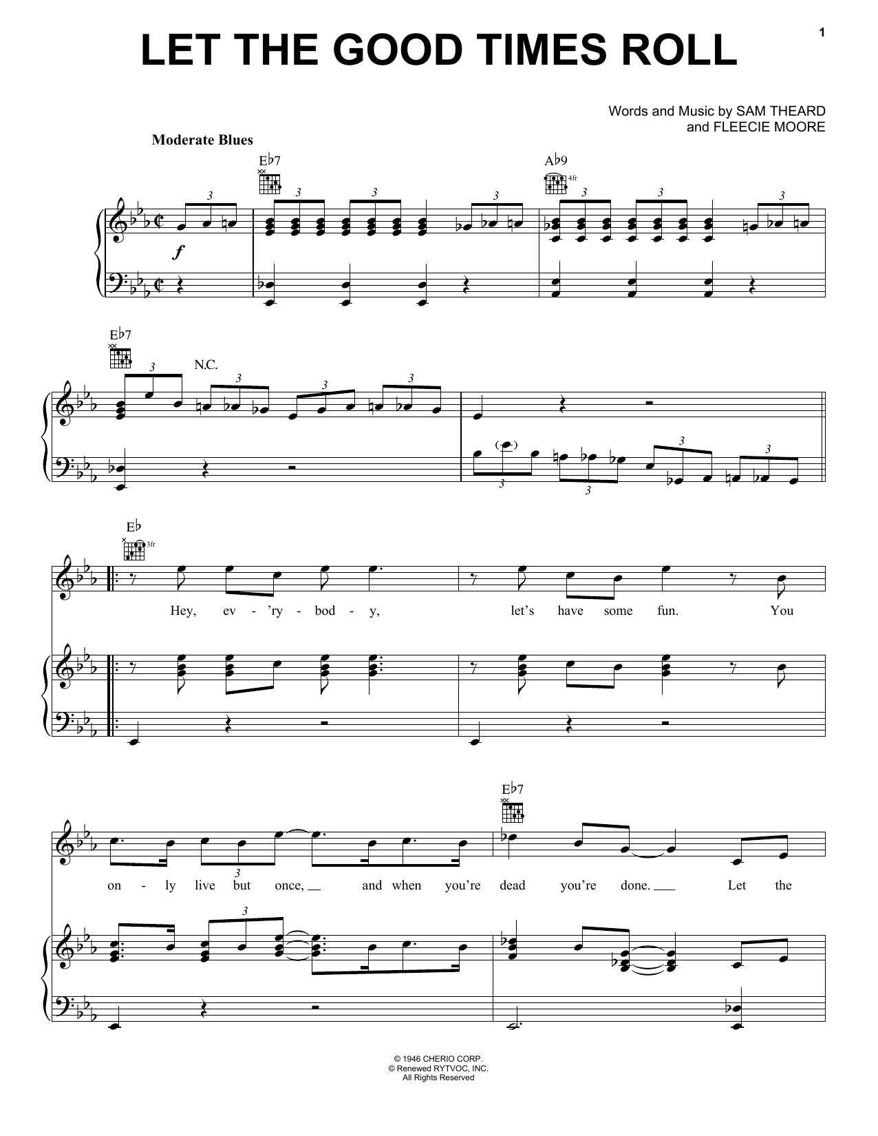 Let The Good Times Roll (Piano, Vocal & Guitar (Right-Hand Melody))