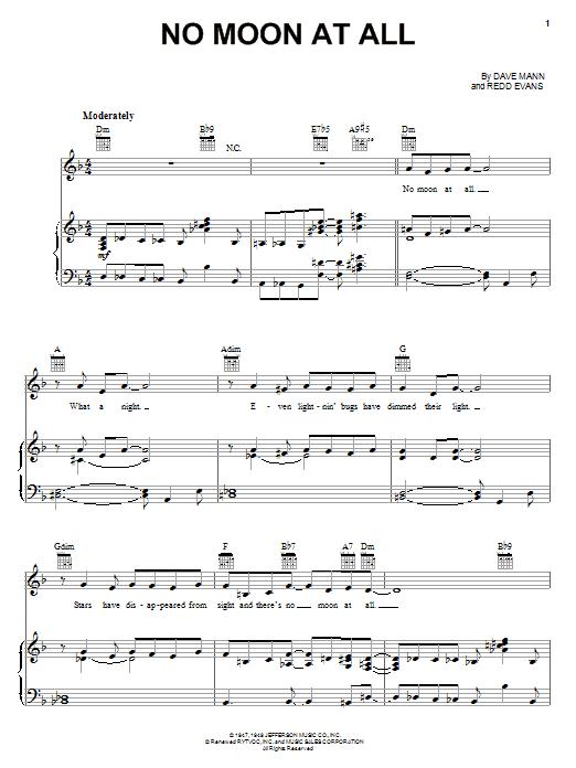 No Moon At All (Piano, Vocal & Guitar (Right-Hand Melody))