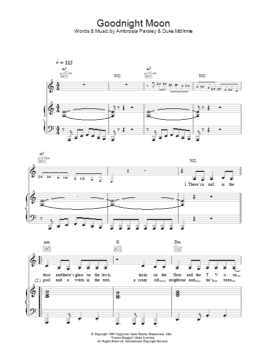 Goodnight Moon (Piano, Vocal & Guitar)