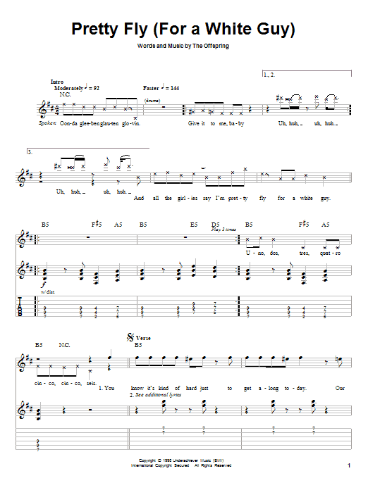 Tablature guitare Pretty Fly (For A White Guy) de The Offspring - Autre