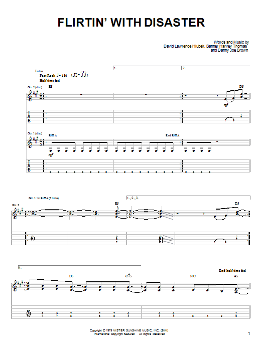 Tablature guitare Flirtin' With Disaster de Molly Hatchet - Tablature guitare facile