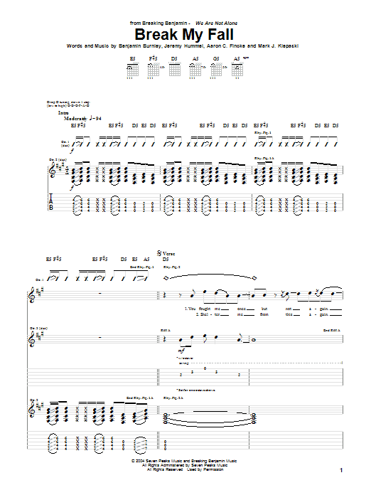 Tablature guitare Break My Fall de Breaking Benjamin - Tablature Guitare
