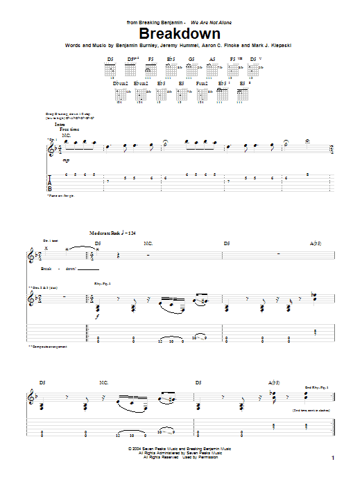 Tablature guitare Breakdown de Breaking Benjamin - Tablature Guitare