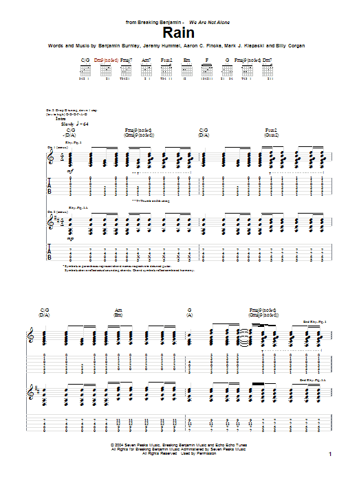 Tablature guitare Rain de Breaking Benjamin - Tablature Guitare