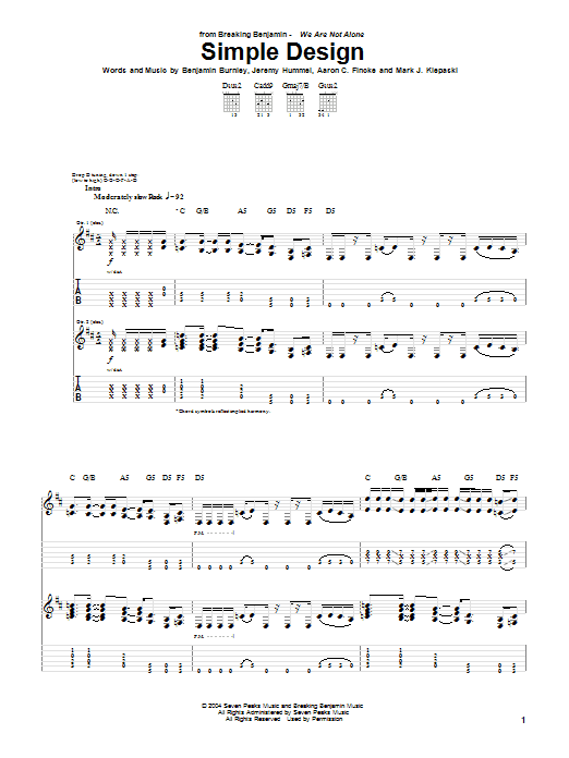 Tablature guitare Simple Design de Breaking Benjamin - Tablature Guitare