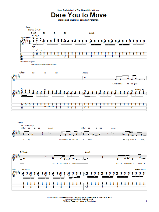 Dare You To Move Sheet Music