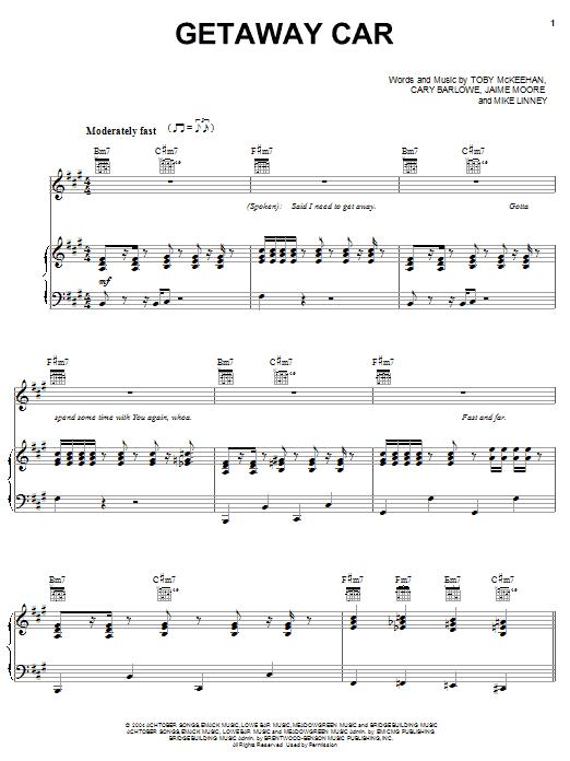 Getaway Car (Piano, Vocal & Guitar (Right-Hand Melody))