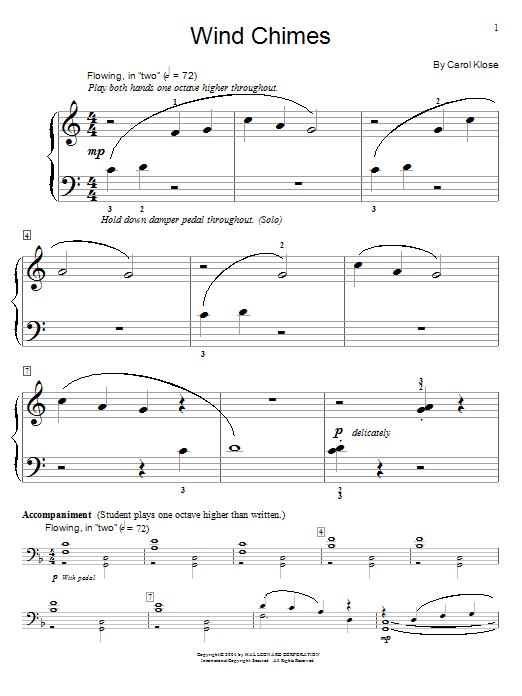 Partition piano Wind Chimes de Carol Klose - Piano Solo
