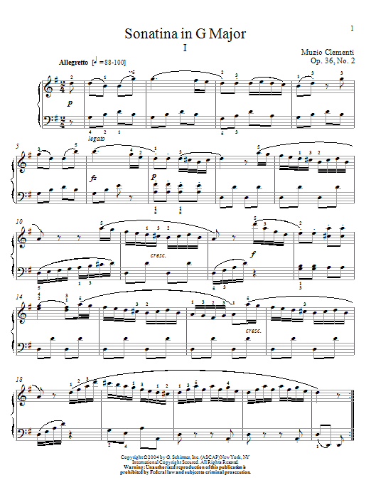 Sonatina In G Major, Op. 36, No. 2 Sheet Music