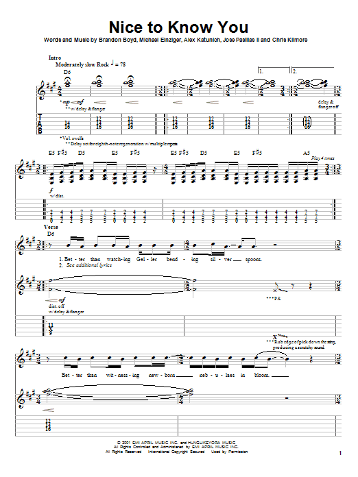 Tablature guitare Nice To Know You de Incubus - Tablature Guitare