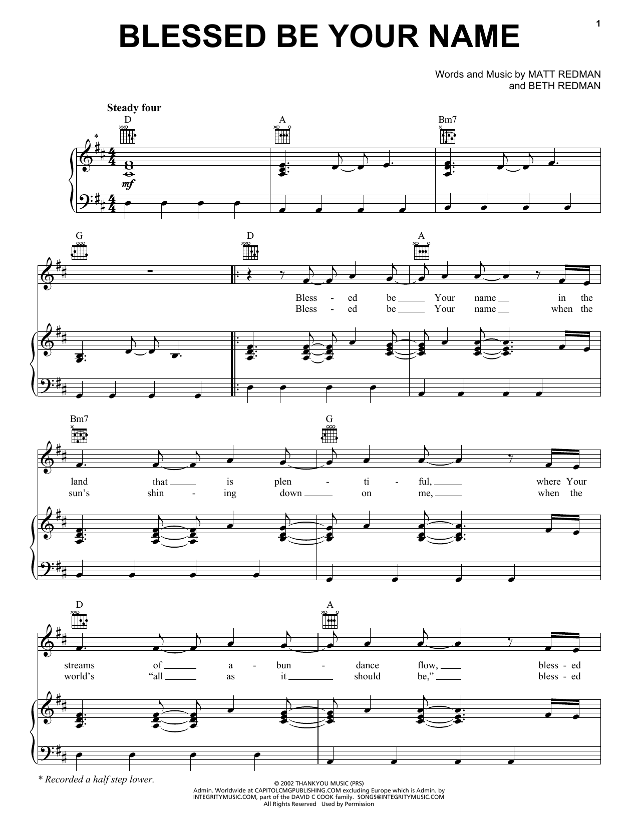 Blessed Be Your Name | Sheet Music Direct
