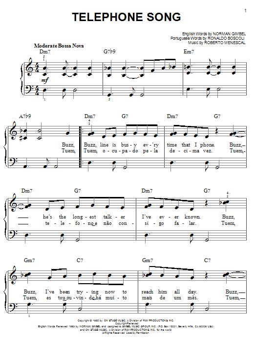 Partition piano Telephone Song de Norman Gimbel - Piano Facile