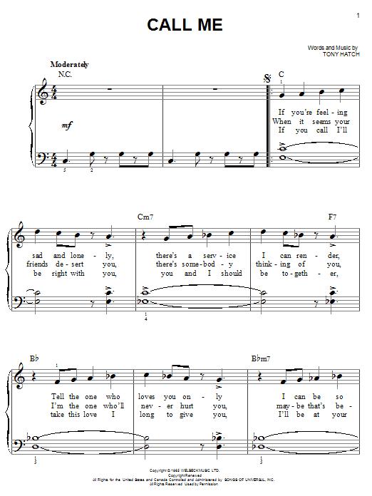 Call Me (Easy Piano)