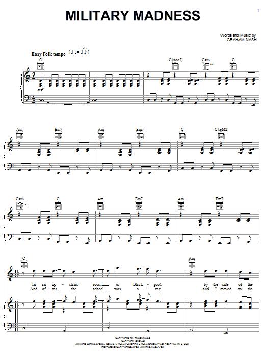 Partition piano Military Madness de Crosby, Stills & Nash - Piano Voix Guitare (Mélodie Main Droite)