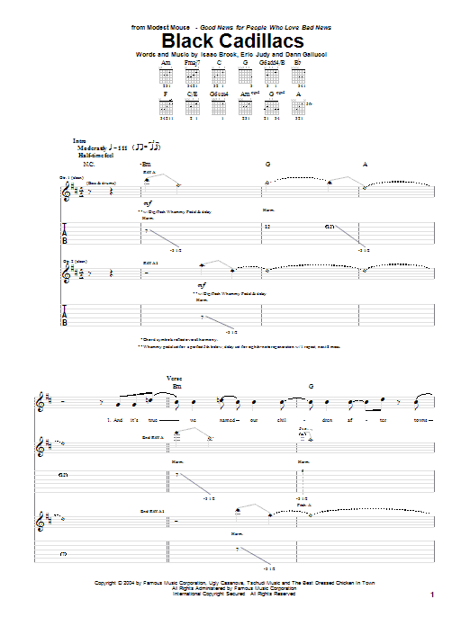 Tablature guitare Black Cadillacs de Modest Mouse - Tablature Guitare
