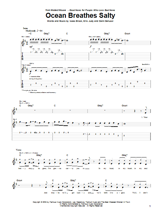 Tablature guitare Ocean Breathes Salty de Modest Mouse - Tablature Guitare