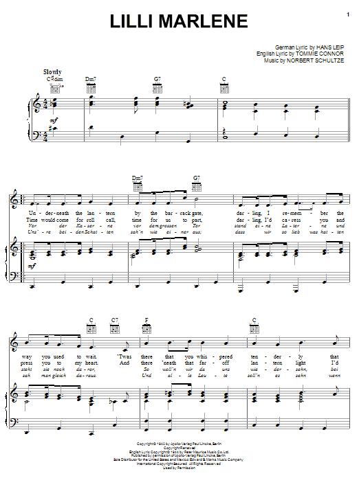 Partition piano Lilli Marlene de Marlene Dietrich - Piano Voix Guitare (Mélodie Main Droite)