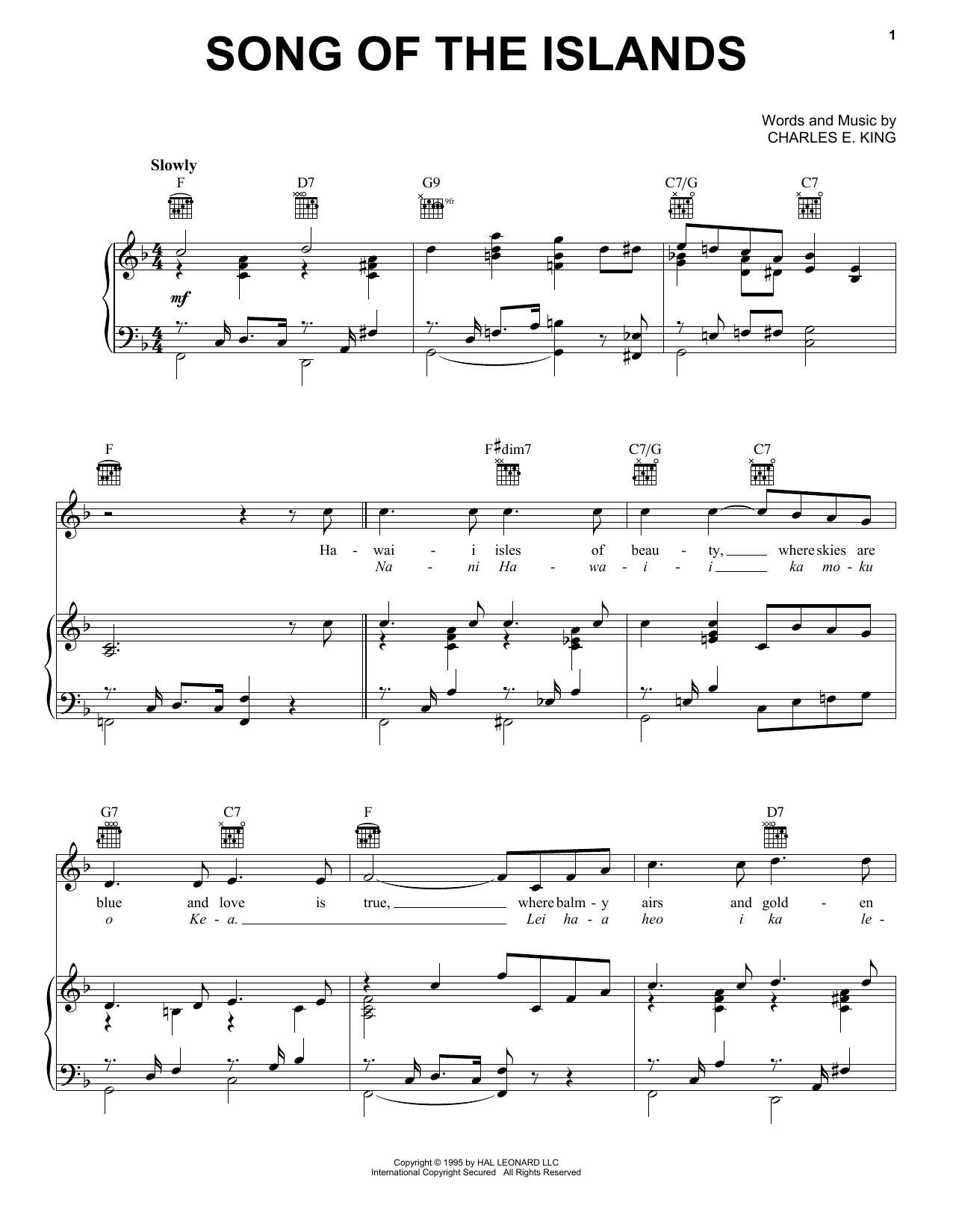 Song Of The Islands Sheet Music