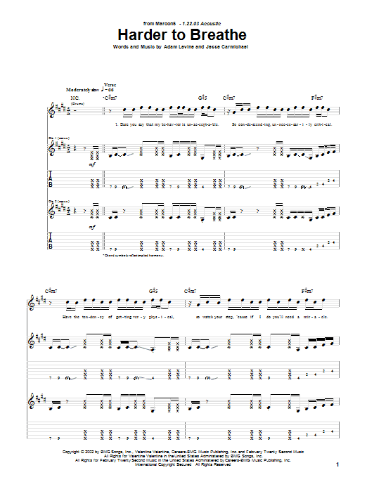 Harder To Breathe Sheet Music