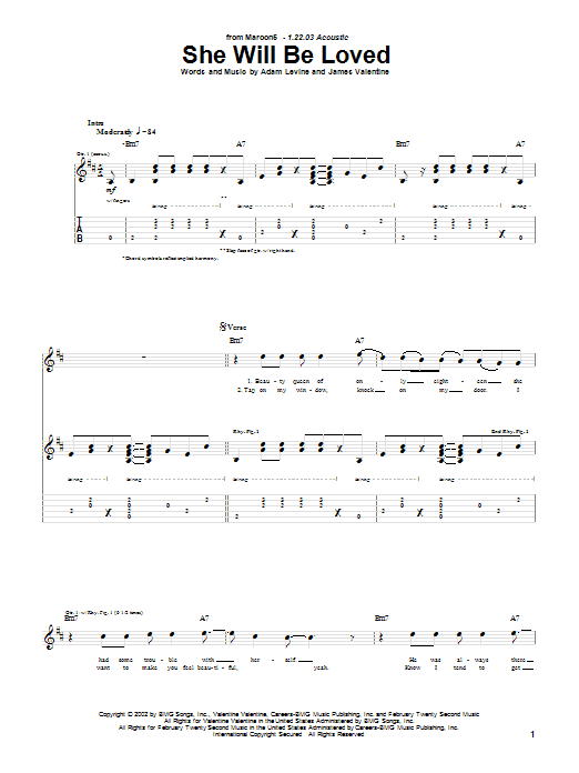 Tablature guitare She Will Be Loved de Maroon 5 - Tablature Guitare
