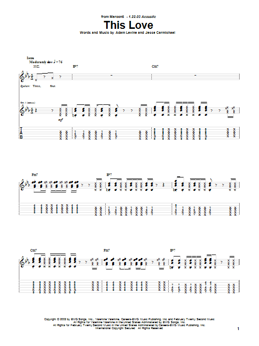 Tablature guitare This Love de Maroon 5 - Tablature Guitare