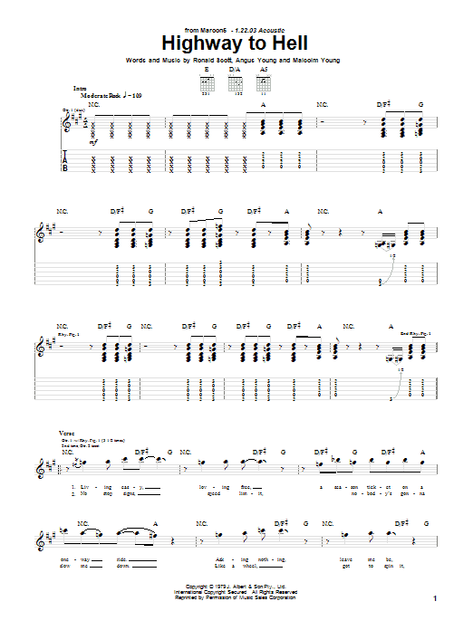 Tablature guitare Highway To Hell de Maroon 5 - Tablature Guitare