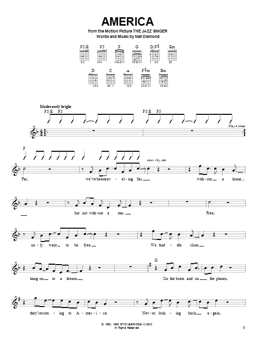 Tablature guitare America de Neil Diamond - Autre