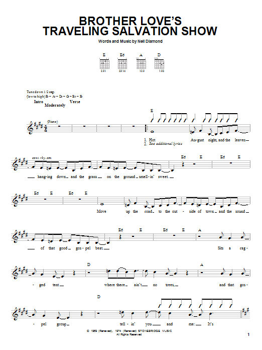 Brother Love's Traveling Salvation Show Sheet Music