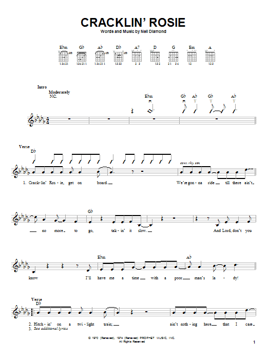 Tablature guitare Cracklin' Rosie de Neil Diamond - Autre