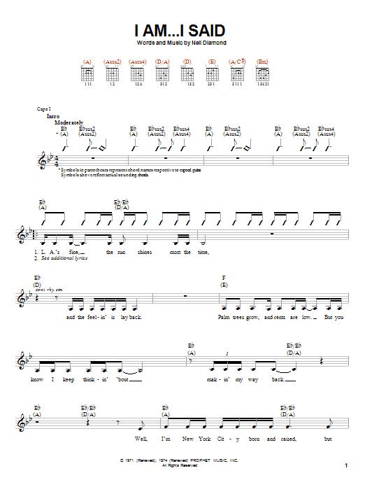 I Am...I Said (Easy Guitar)