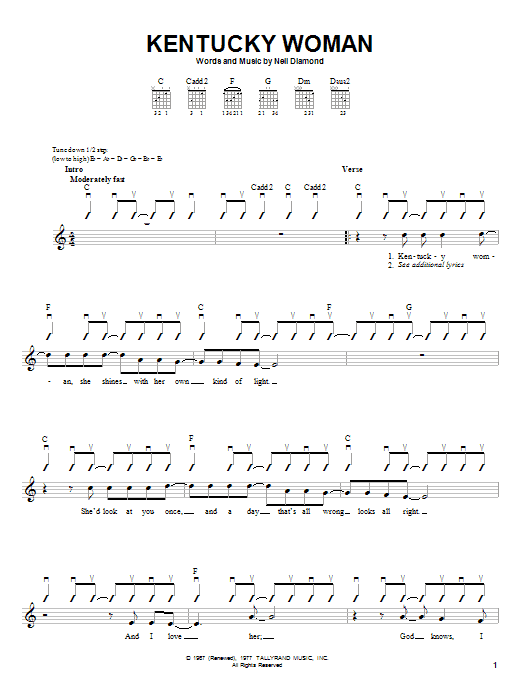 Tablature guitare Kentucky Woman de Neil Diamond - Autre