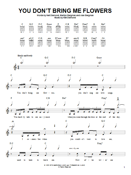 Tablature guitare You Don't Bring Me Flowers de Neil Diamond and Barbra Streisand - Autre