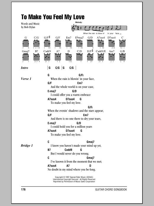 To Make You Feel My Love Sheet Music Billy Joel Lyrics Chords
