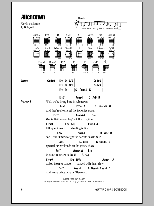 Allentown by Billy Joel - Guitar Chords/Lyrics - Guitar Instructor