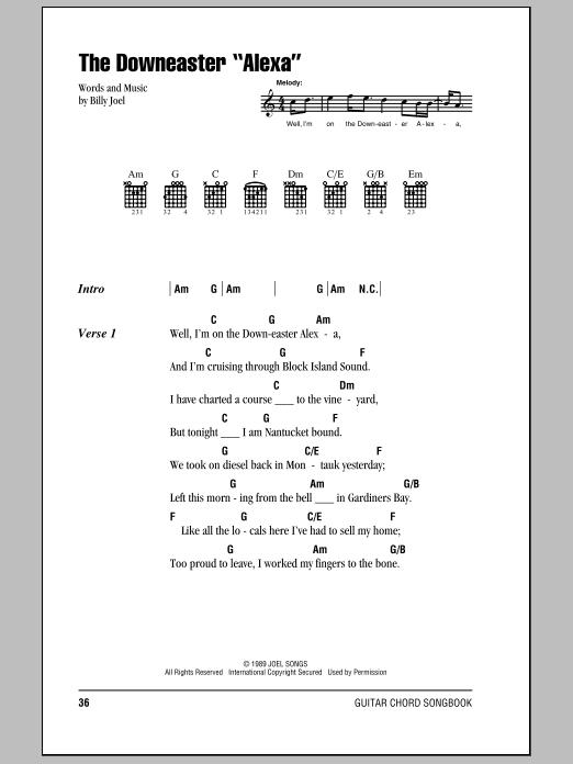 "The Downeaster ""Alexa"" Sheet Music"