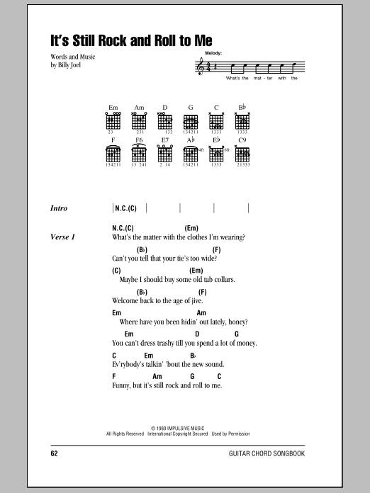 It\'s Still Rock And Roll To Me by Billy Joel - Guitar Chords/Lyrics ...