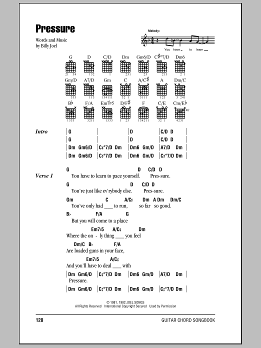 Pressure by Billy Joel - Guitar Chords/Lyrics - Guitar Instructor