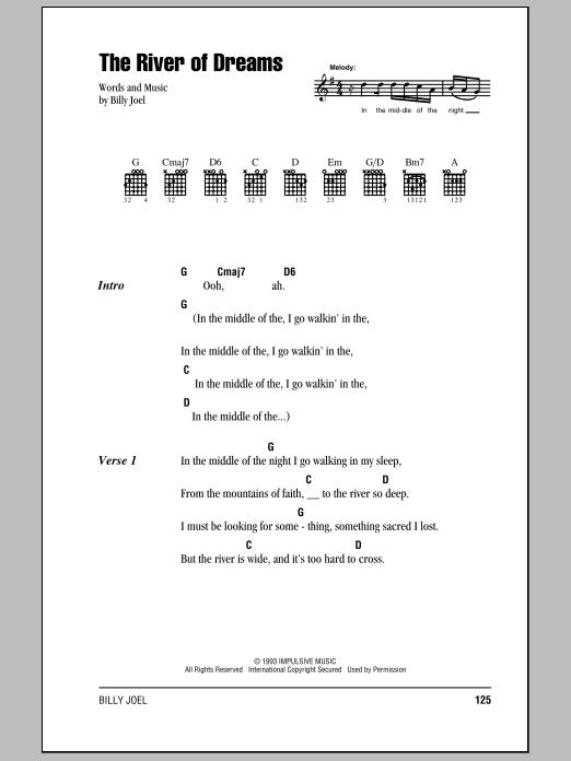 The River Of Dreams (Guitar Chords/Lyrics)