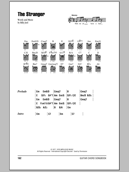 The Stranger sheet music by Billy Joel (Lyrics & Chords – 79574)