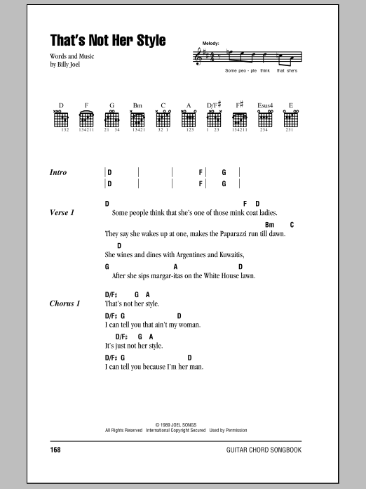 That's Not Her Style (Guitar Chords/Lyrics)