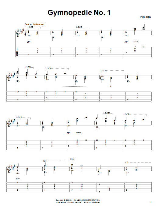 Tablature guitare Gymnopedie No. 1 de Erik Satie - Tablature Guitare