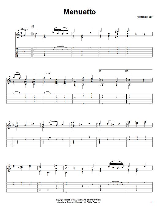 Tablature guitare Menuetto de Fernando Sor - Tablature Guitare