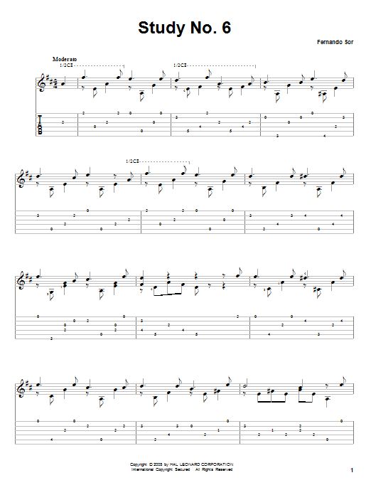 Tablature guitare Study No. 6 de Fernando Sor - Tablature Guitare