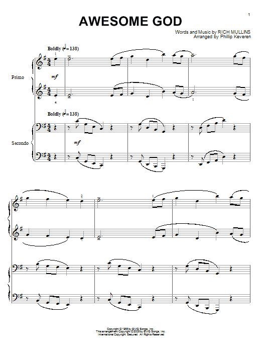 Partition piano Awesome God de Rich Mullins - 4 mains